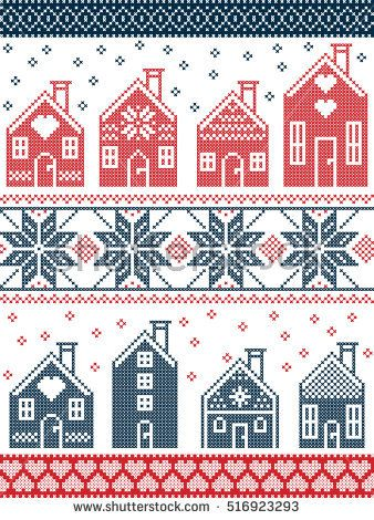 Seamless Scandinavian style and Nordic culture inspired Christmas and festive winter pattern in cross stitch style with gingerbread house village incl…