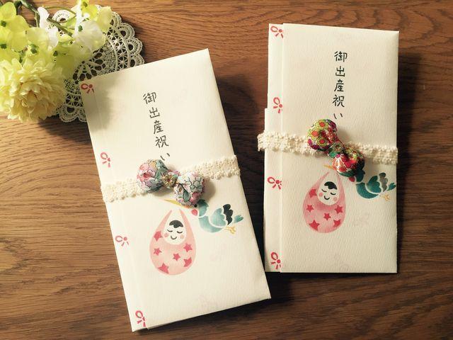 再販【出産祝いに】リバティヘアゴムバンド付き祝儀袋(中袋あり)_女の子