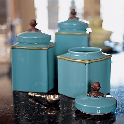 Canisters From Willow House. Love The Blue And Gold Trim