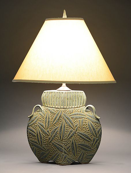 Arts And Crafts Lamp In Sage By Jim And Shirl Parmentier (Ceramic Table Lamp