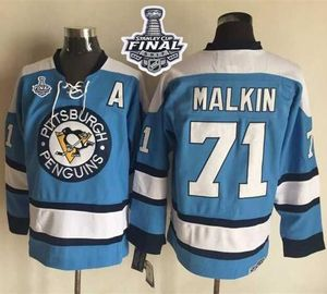 2017 Stanley Cup Final Patch Penguins #71 Evgeni Malkin Blue Alternate CCM Throwback Stiched NHL Jerseys Stitched NHL Jersey
