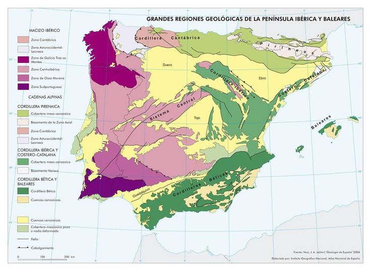 Cordillera Betica Mapa Fisico.Mapa De Grandes Regiones Geologicas De La Peninsula Iberica Y Baleares 2004 Mapas Geografia E Historia Historia De Espana