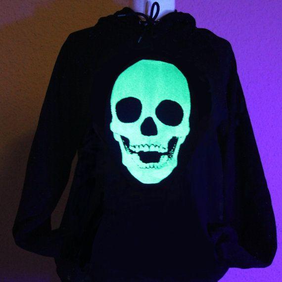 Glow in the dark Skull screenprint hoodie uUnisex sizes by Glowees