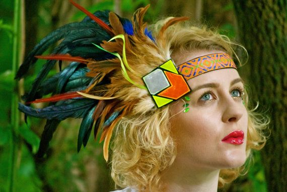 Aztec feather headdress with reflective neon by beksiesboutique, £30.00