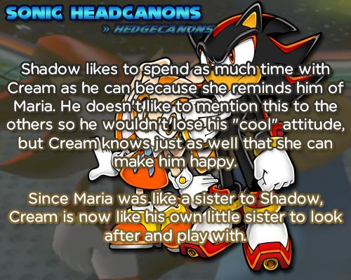 ☆ Sonic Headcanons ☆ — Shadow likes to spend as much time with Cream as...