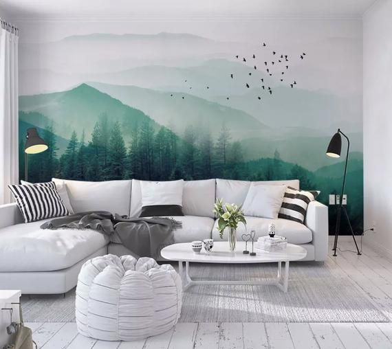 Misty Green Forest With Birds Wallpaper Foggy Jungle Landscape Wall Mural Mountain Silhouette Wall Decor Cafe Living Room Bedroom Entryway In 2020 Lakberendezes Hazak Lakberendezesi Otletek