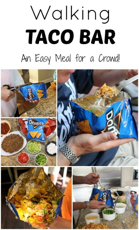 Walking Taco Bar - An easy meal for a crowd and party #recipe