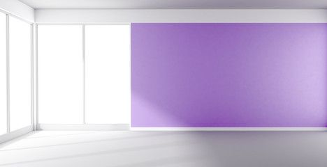Empty room with purple wall and panoramic window