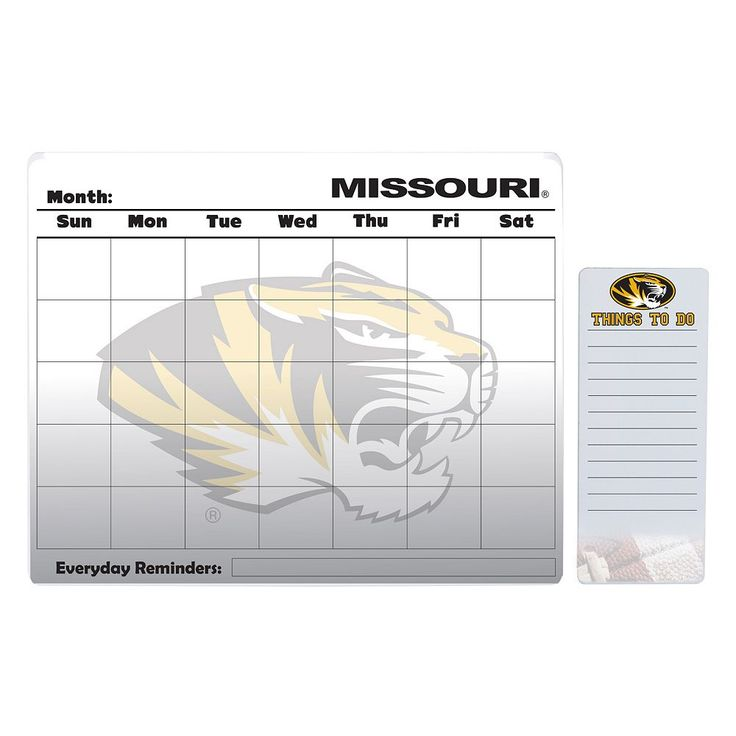 Missouri Tigers Dry Erase Calendar & To-Do List Pad Set, Multicolor