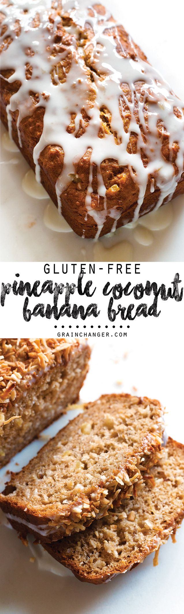 A perfect taste of the tropics! This dairy-free, Gluten-Free Pineapple Coconut Banana Bread will absolutely whisk you away to a warmer, sunnier day (in spirit, at least!)