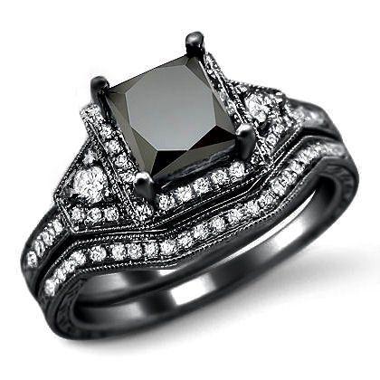 20ct black princess cut diamond engagement ring bridal set 14k black gold 159500 - All Black Wedding Rings