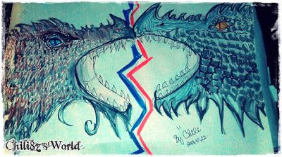 Chili87's World: Rajzaim, fight, war, dragons, fire, ice, harc, küzdelem, ellentétek,  pencil drawing,brush-pen drawing,