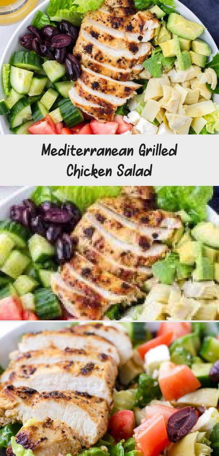 The best Mediterranean Chicken Salad! This Mediterranean grilled chicken salad is made with juicy a flavorful grilled chicken breast, complete with a mediterranean red wine dressing. Tossed feta, olives, avocado, and artichokes #cookingformysoul #mediterraneansalad #mediterraneandiet #grilledchickensalad #grilledchicken #mediterraneangrilledchicken   cookingformysoul.com #Mediterraneansaladrecipes #Mexicansaladrecipes #Christmassaladrecipes #MasonJarsaladrecipes #Spinachsaladrecipes
