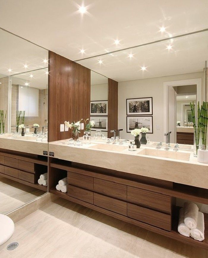 badgestaltung ideen schone bader badezimmer in weis und braun grose spiegel holz