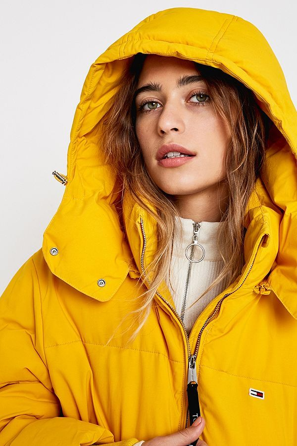 31bb79bee Tommy Jeans Yellow Oversized Hooded Puffer Jacket in 2019 | Nue ...