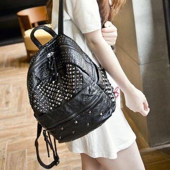 Mochila faculdade direito rebites ombro bolsas ombro mensageiro de lona feminina mochila de viagem de couro legitimo