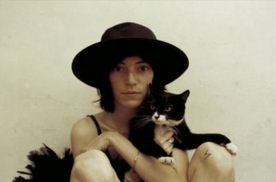 Patti Smith with cat