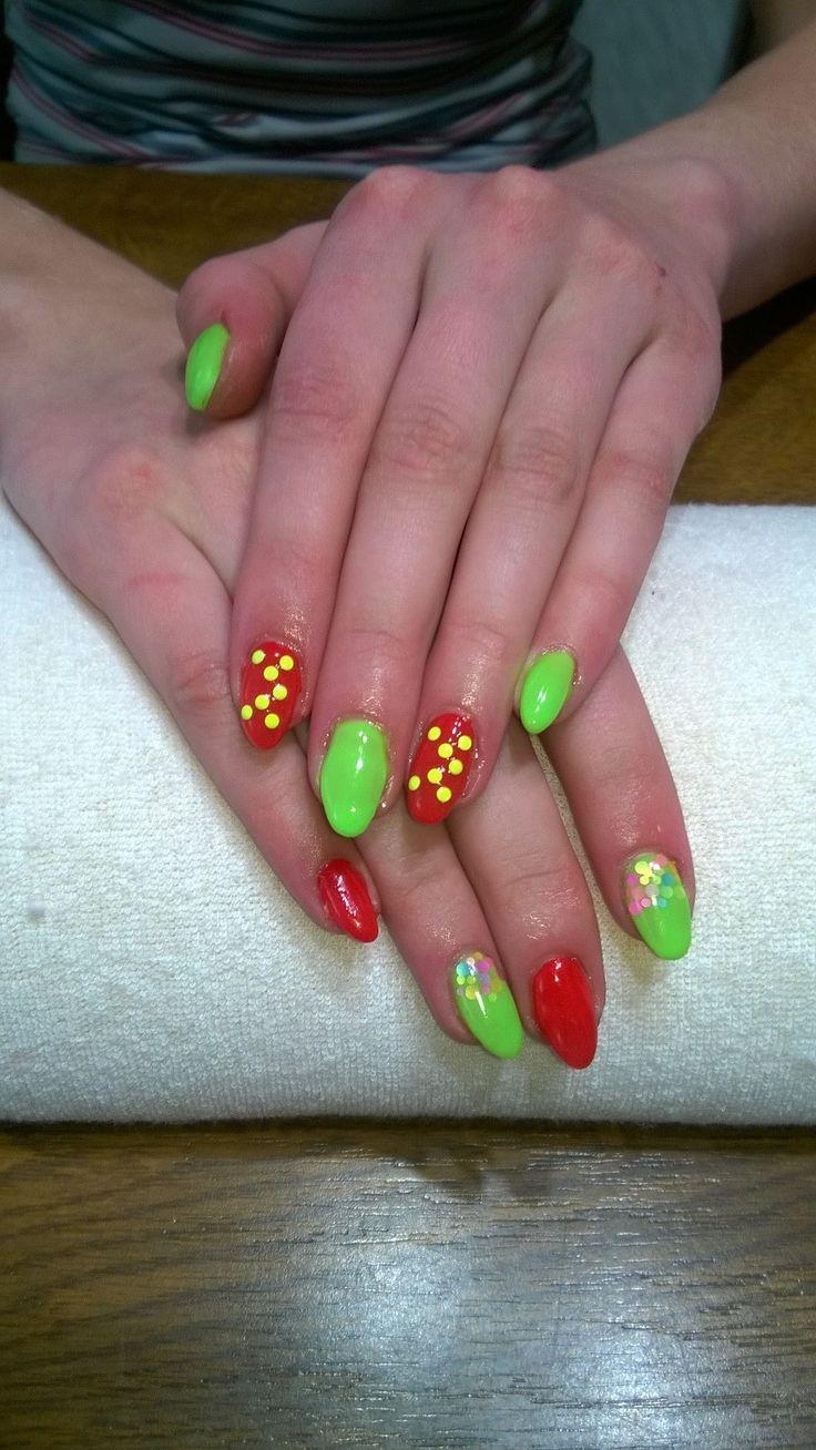 neon green and red, neon glitter and neon yellow rhinestones
