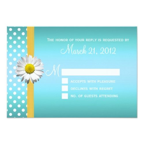 Yellow Wedding RSVP cards Blue and Yellow Daisy Wedding RSVP Card