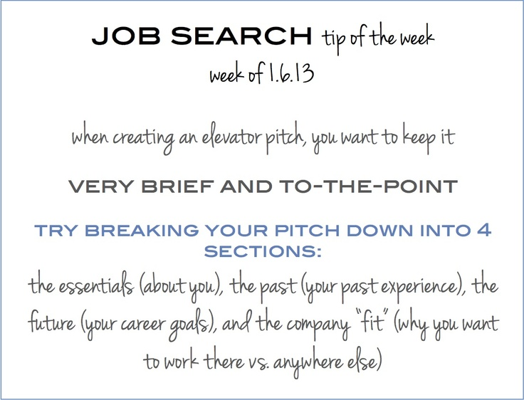 Wonderful Job Search Tip Of The Week: How To Create The Perfect Elevator Pitch   This  Weeku0027s #jobsearchtip Is About Creating A Great Elevator Pitch   To Learn  More ...