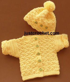 Gratis babycrochet patroon preemie Cardi met bobble hoed usa