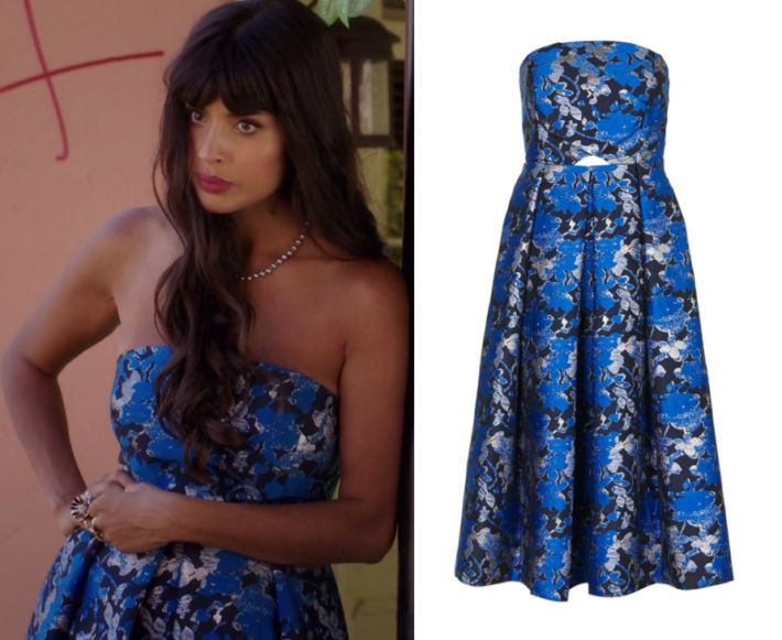 """2x09 Tahani Al Jamil (Jameela Jamil) wears this blue strapless jacquard floral midi bandeau dress in this episode of The Good Blace, """"Leap to Faith"""".  It is the Topshop Shadow Jacquard Midi Dress"""