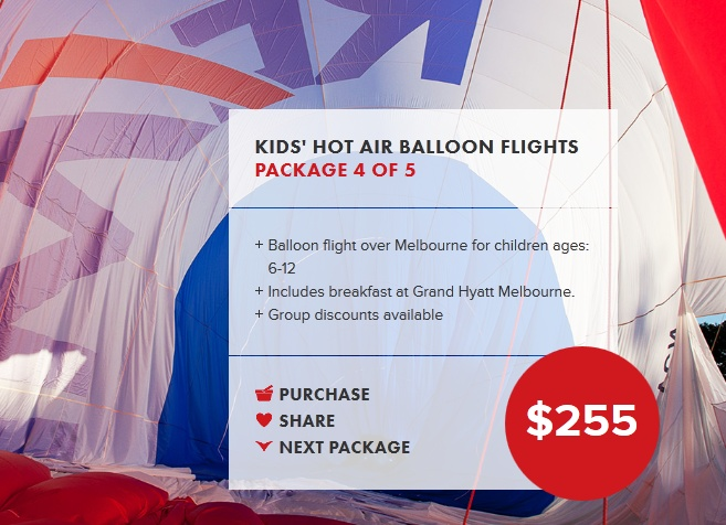 Balloon flight over Melbourne for children ages: 6-12  Includes breakfast at Grand Hyatt Melbourne.  Group discounts available