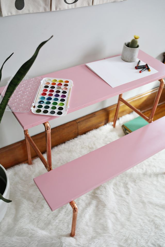 Children's Copper Desk DIY: possibly use this same method to make a console table