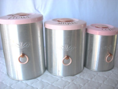 Retro Vintage Colorama By Heller 3 Pc Aluminum Canister Set W Pink Tops Made Usa All Things Pinterest Sets Kitchen Canisters And
