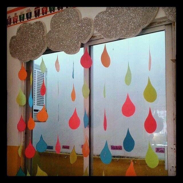 Decoración ventanas de salón gotas de lluvia nubes