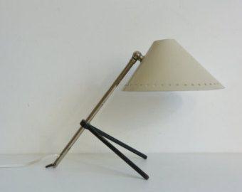Trípode de mediados del siglo luz Pinocho de lámpara mesa Hala escritorio 1950 suave gris aplique pared