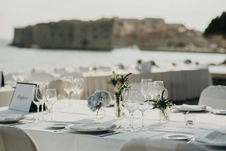 Hotel Excelsior | Dubrovnik | Croatia | Destination Wedding | Table Setting | Minimalist | Outdoor Terrace