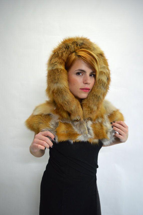 Real fur hooded fur scarf collar red fox fur hood red fox by BeFur