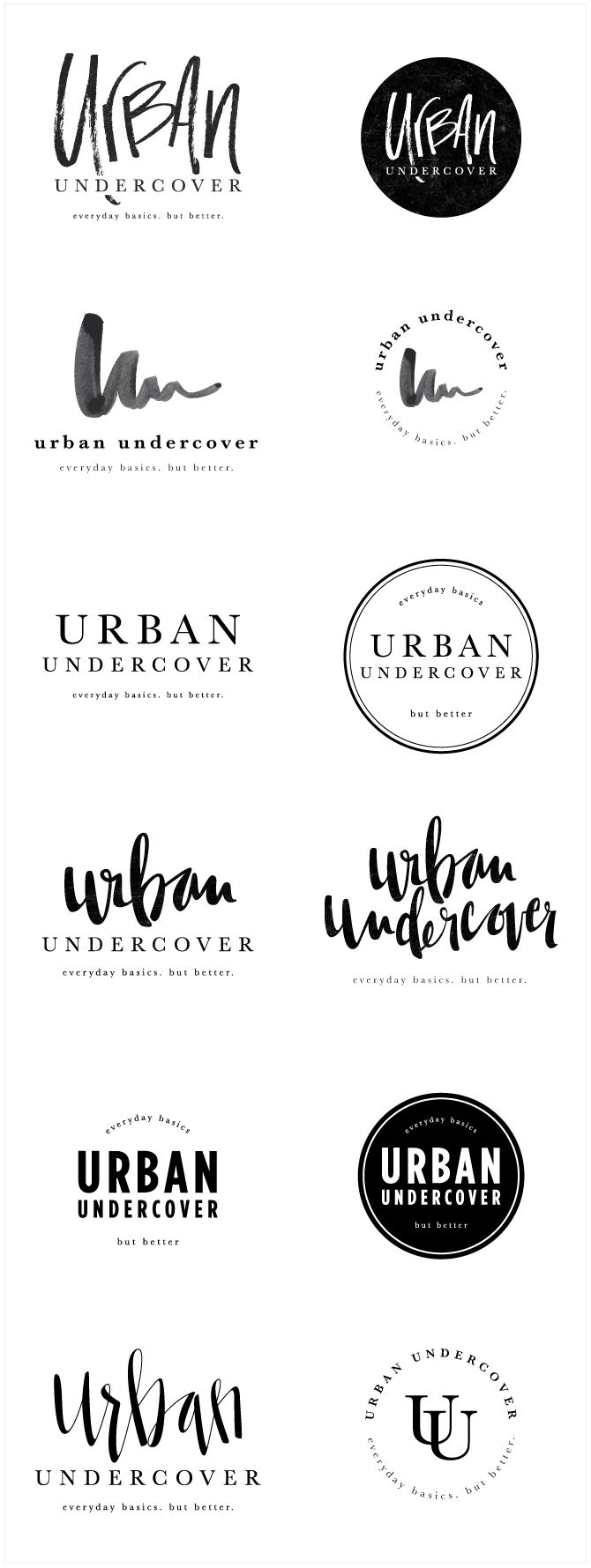 Brand Launch: Urban Undercover - Salted Ink Design Co. | logo concepts | logo design, logo, designer, brand designer, black and white, hand lettered, hand lettered, handwritten, calligraphy