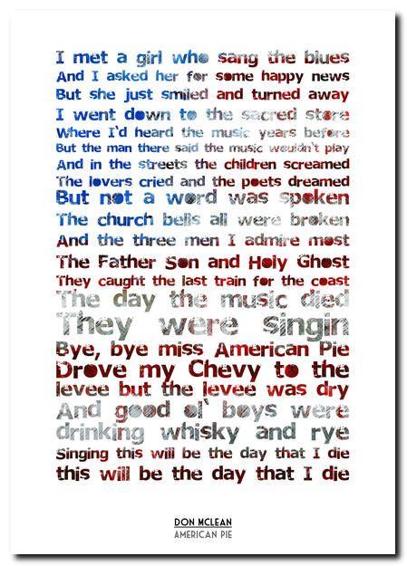 american pie lyrics don mclean   Details about Don McLean - American Pie - song lyric poster typography ...