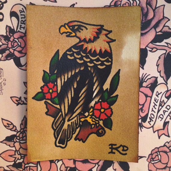 Eagle traditional tattoo flash original hand painted by BoldWillHoldKD on Etsy, $20.00