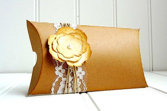 50 Vintage Kraft Pillow Favor Boxes / Pillow by ThePaperBazaar, $87.21