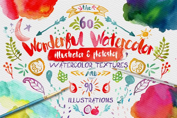 Love! :: Wonderful Watercolor Design Pack by Creativeqube Design