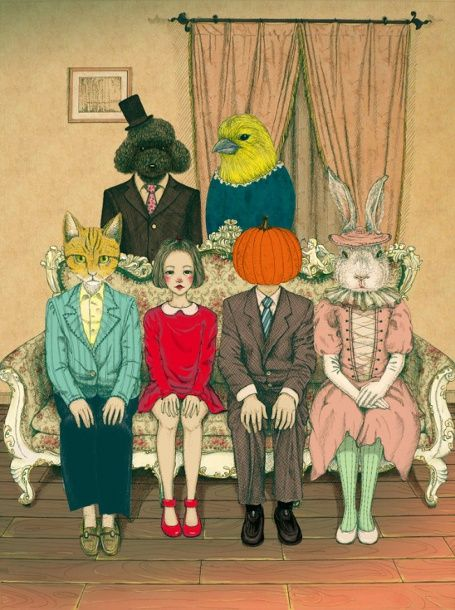 Zhan Ni Li:  Strange Family Portrait.  I LOVE this!  Where can we find a sheep's head for you??