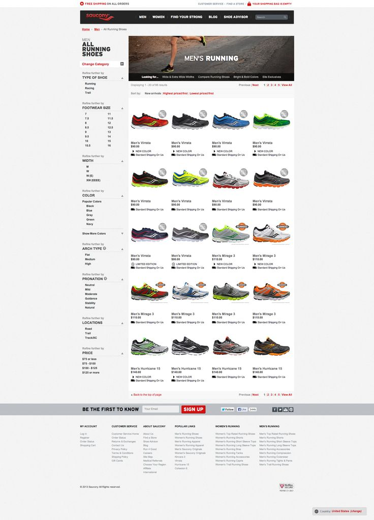 Saucony - Website (List of Products Page)