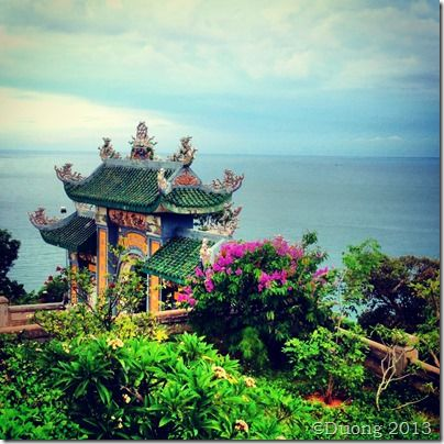 Pagoda in Da Nang Vietnam up at Monkey Mountain. A must visit if you're traveling to Vietnam.