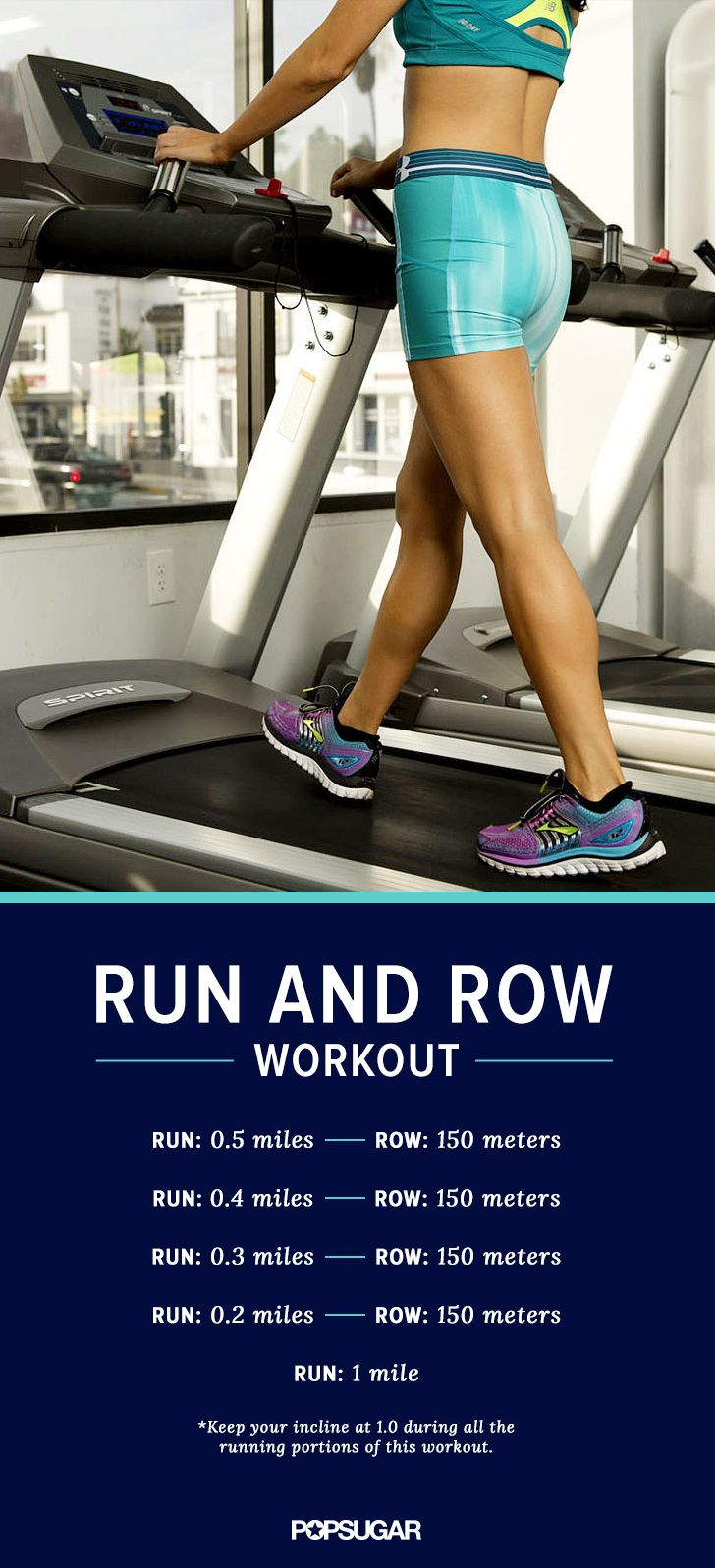 Even if you don't have an studio nearby, you can get a feel for the class at your gym with this cardio workout inspired by my very first Orangetheory experience. You'll be running back and forth from the treadmill to the rowing machine, so get ready to move and feel the burn!