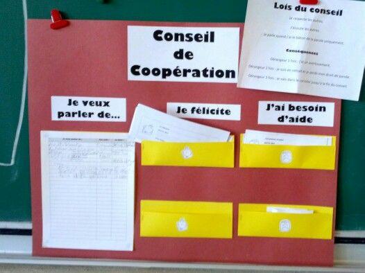 Conseil de coopération : Pour favoriser une bonne gestion de classe et l'inclusion de chacun et chacune.