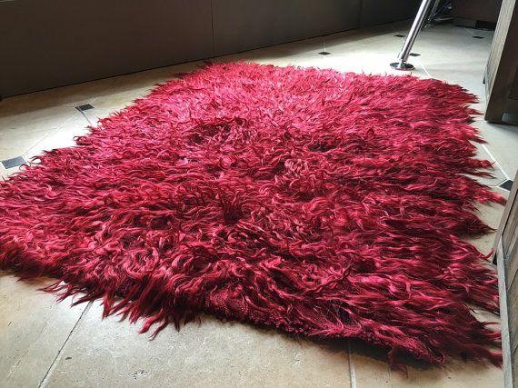 Rosso Tulu tappeto, Tappeto Shaggy, Flokati tappeto, coperta di zona 3 x 5, tappeto camera da letto, tappeto Shag, Tulu tappeto, morbido tappeto, tappeto turco, tappeto rosso, Boho, Shag Pile