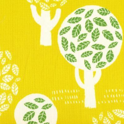 Trees of Leaves on Mustard-Yellow   Fabric   Fabrics to Inspire - Kelani Fabric