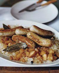 Sautéed German Sausages with Bacon and Apple Sauerkraut