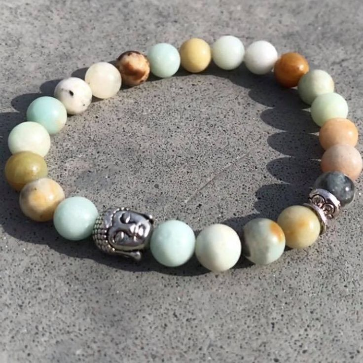 Buddha armband op elastiek Meerkleurige amazoniet