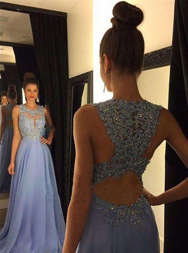 Elegant A-line Sweep Train Blue Chiffon Prom Dress With Beading