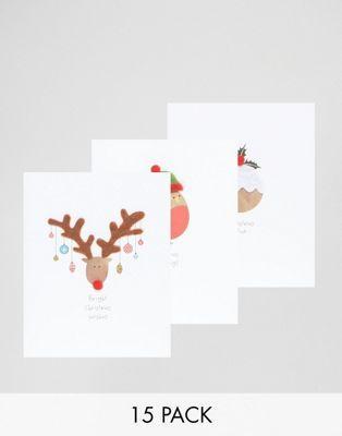 Набор из 15 рождественских открыток с помпонами Paperchase