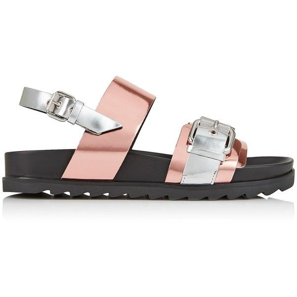 Mcq Alexander Mcqueen Rita Metal Bar Sandals (2.850.695 IDR) ❤ liked on Polyvore featuring shoes, sandals, silver, women shoes, gladiator sandals, famous footwear, rose sandals and flat heel shoes